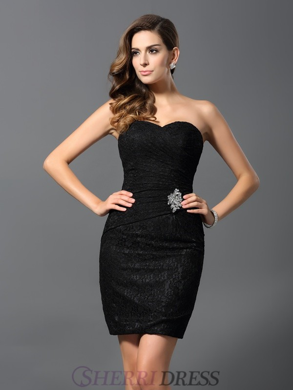 Sheath/Column Sweetheart Lace Sleeveless Short/Mini Dresses