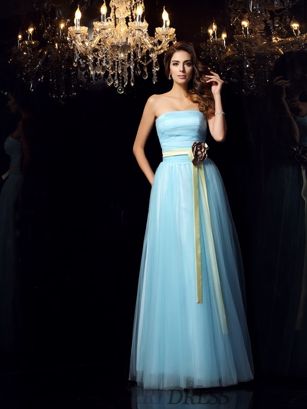 Ball Gown Strapless Satin Sleeveless Floor-Length Prom Dresses