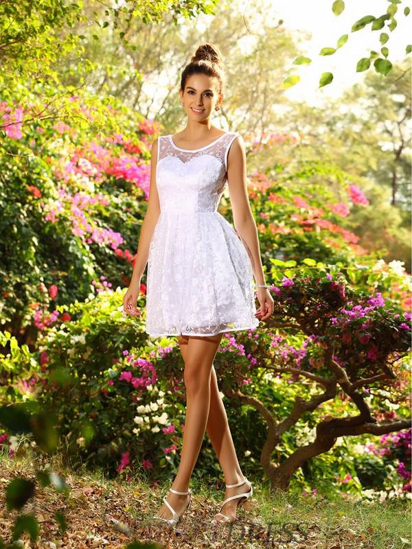 A-Line/Princess Bateau Lace Sleeveless Short/Mini Bridesmaid Dresses