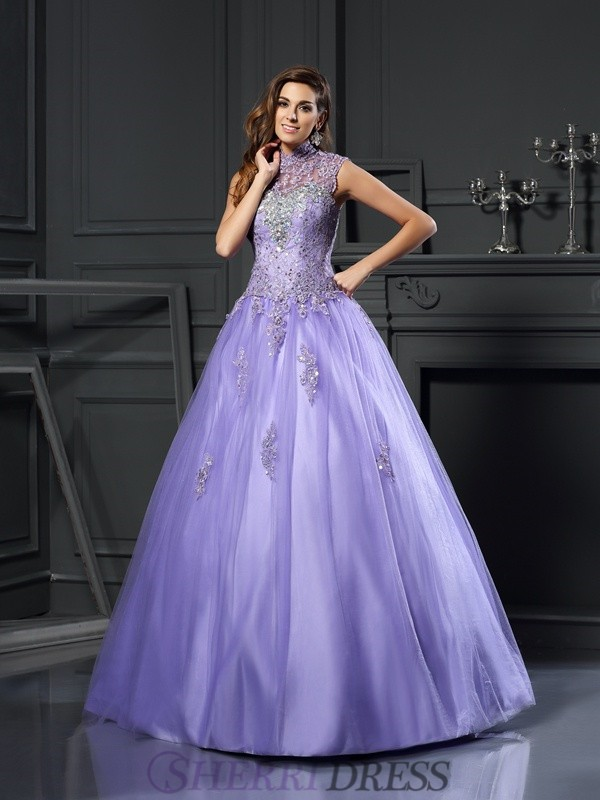 Ball Gown High Neck Net Sleeveless Floor-Length Prom Dresses