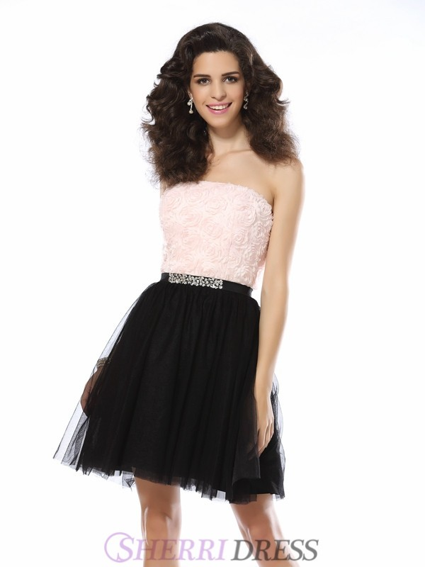 A-Line/Princess Strapless Tulle Sleeveless Short/Mini Dresses
