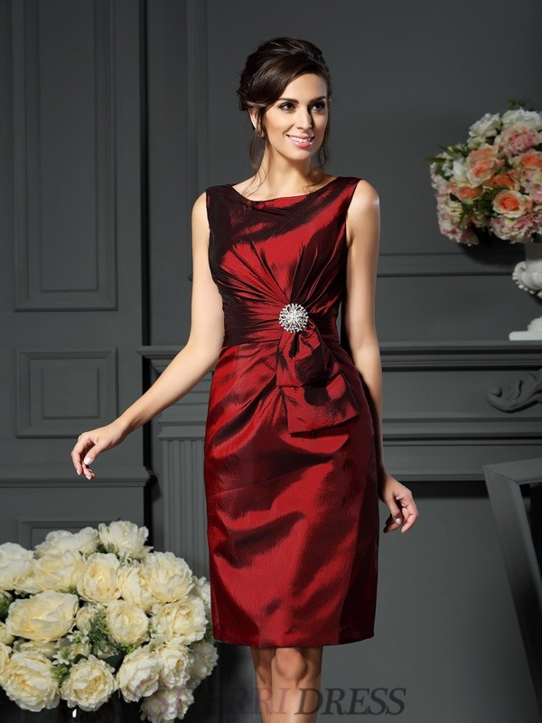 Sheath/Column Scoop Taffeta Sleeveless Knee-Length Mother of the Bride Dresses