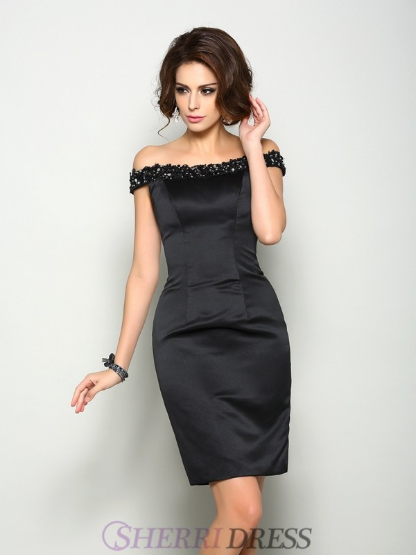 Sheath/Column Off-the-Shoulder Satin Sleeveless Knee-Length Mother of the Bride Dresses