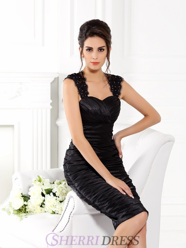 Sheath/Column Straps Taffeta Sleeveless Knee-Length Mother of the Bride Dresses