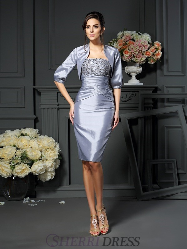 Sheath/Column Sweetheart Taffeta Sleeveless Knee-Length Mother of the Bride Dresses