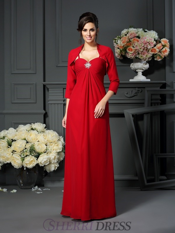 A-Line/Princess Spaghetti Straps Chiffon Sleeveless Floor-Length Mother of the Bride Dresses