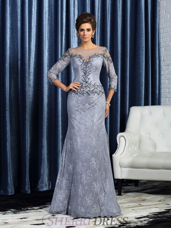 Trumpet/Mermaid Bateau Lace 3/4 Sleeves Sweep/Brush Train Mother of the Bride Dresses