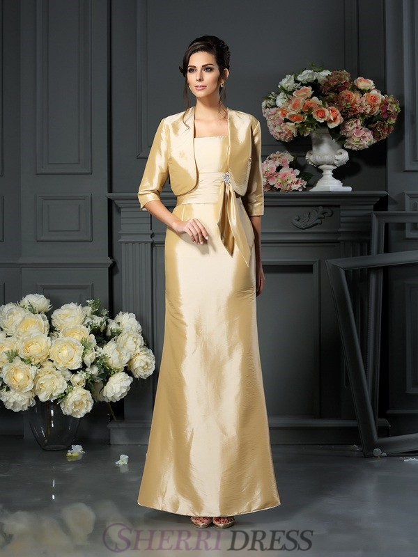 Sheath/Column Straps Taffeta Sleeveless Ankle-Length Mother of the Bride Dresses