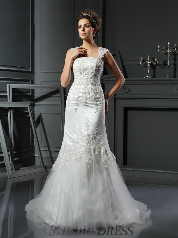 Trumpet/Mermaid Straps Satin Sleeveless Court Train Wedding Dresses