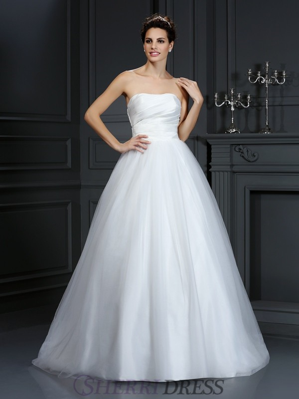 Ball Gown Strapless Taffeta Sleeveless Court Train Wedding Dresses