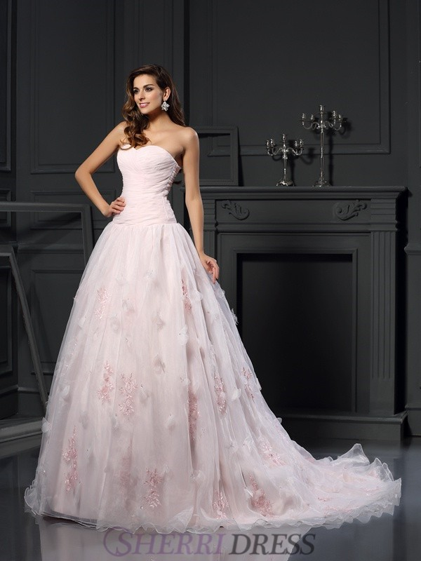 Ball Gown Sweetheart Satin Sleeveless Chapel Train Wedding Dresses
