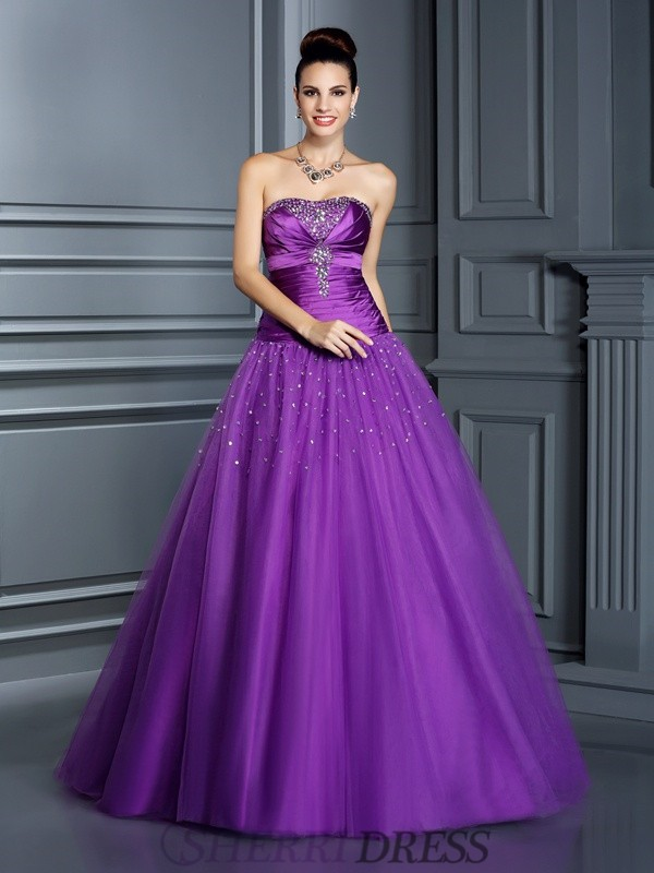 Ball Gown Strapless Taffeta Sleeveless Floor-Length Prom Dresses