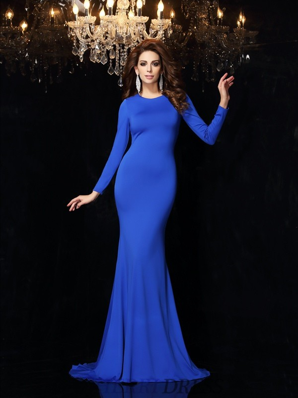 Trumpet/Mermaid Scoop Spandex Long Sleeves Sweep/Brush Train Dresses