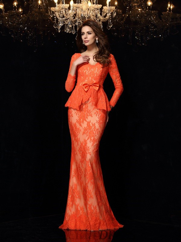 Sheath/Column V-neck Lace Long Sleeves Sweep/Brush Train Dresses