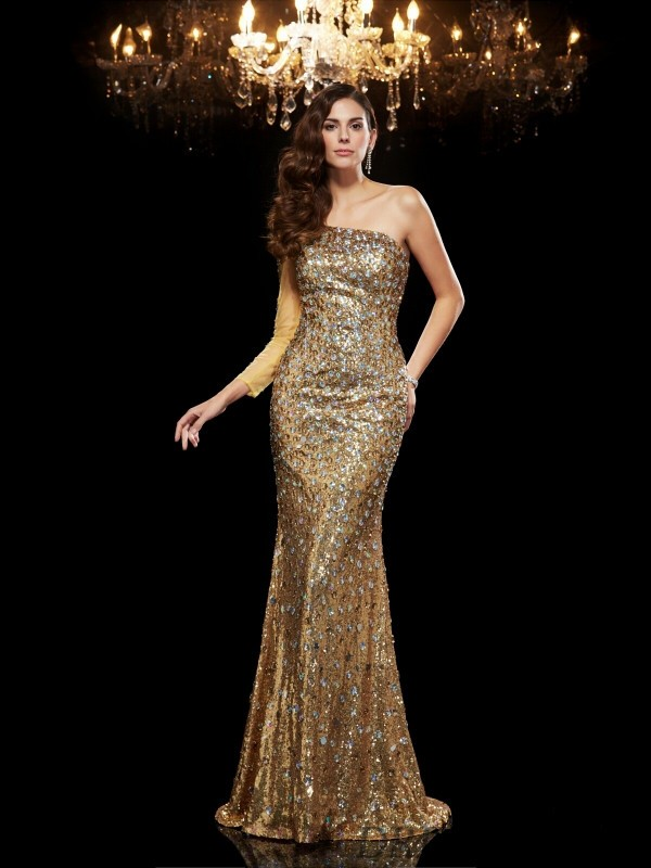 Trumpet/Mermaid One-Shoulder Sequins 3/4 Sleeves Floor-Length Evening Dresses