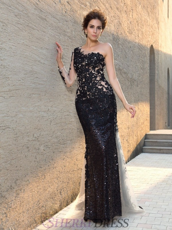 Sheath/Column One-Shoulder Lace Long Sleeves Sweep/Brush Train Evening Dresses