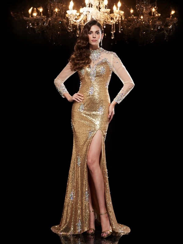 Trumpet/Mermaid High Neck Sequins 3/4 Sleeves Sweep/Brush Train Evening Dresses