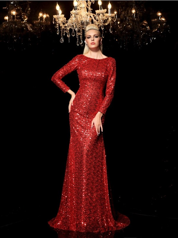 Sheath/Column Scoop Sequins Long Sleeves Sweep/Brush Train Evening Dresses