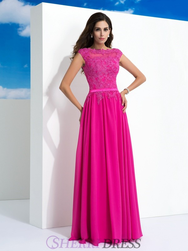 A-Line/Princess Sheer Neck Chiffon Sleeveless Floor-Length Evening Dresses