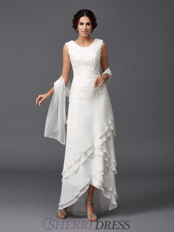 A-Line/Princess Scoop Chiffon Sleeveless Asymmetrical Mother of the Bride Dresses