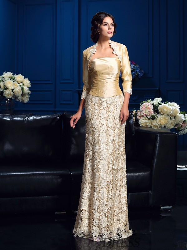 A-Line/Princess Strapless Lace Sleeveless Floor-Length Mother of the Bride Dresses