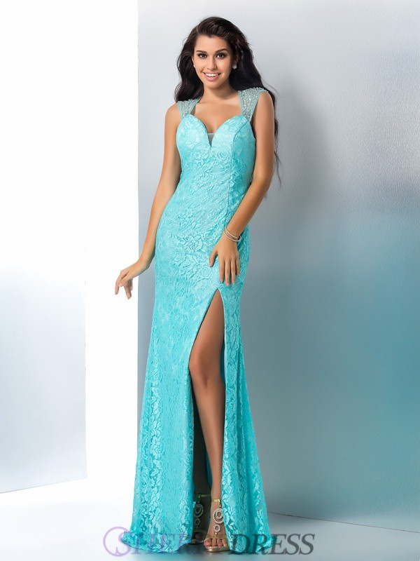 Trumpet/Mermaid Sweetheart Lace Sleeveless Floor-Length Prom Dresses