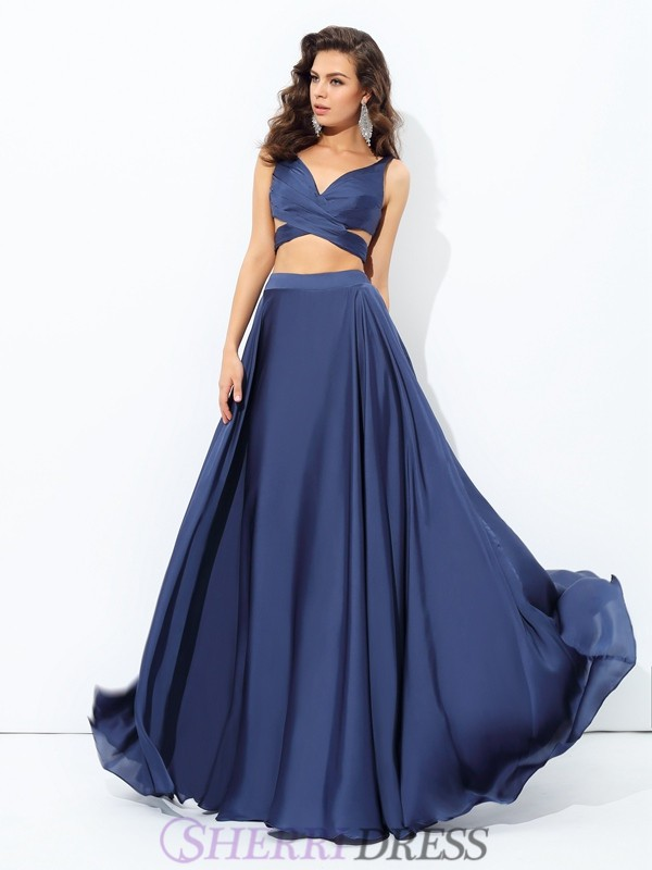 A-line/Princess Straps Satin Chiffon Sleeveless Floor-Length Two Piece Prom Dresses