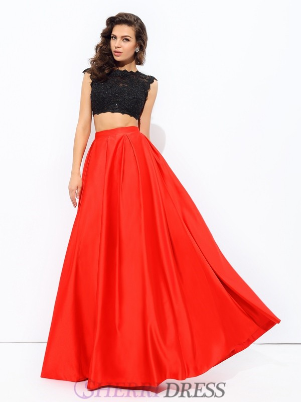 A-line/Princess Scoop Satin Sleeveless Floor-Length Two Piece Prom Dresses