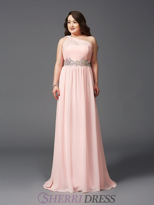 A-Line/Princess One-Shoulder Chiffon Sleeveless Sweep/Brush Train Plus Size Prom Dresses