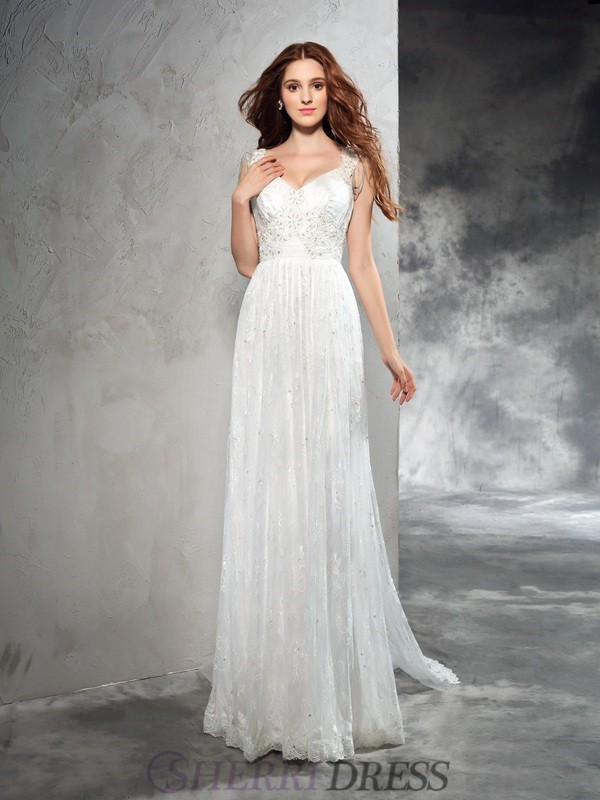 A-Line/Princess Straps Lace Sleeveless Court Train Wedding Dresses