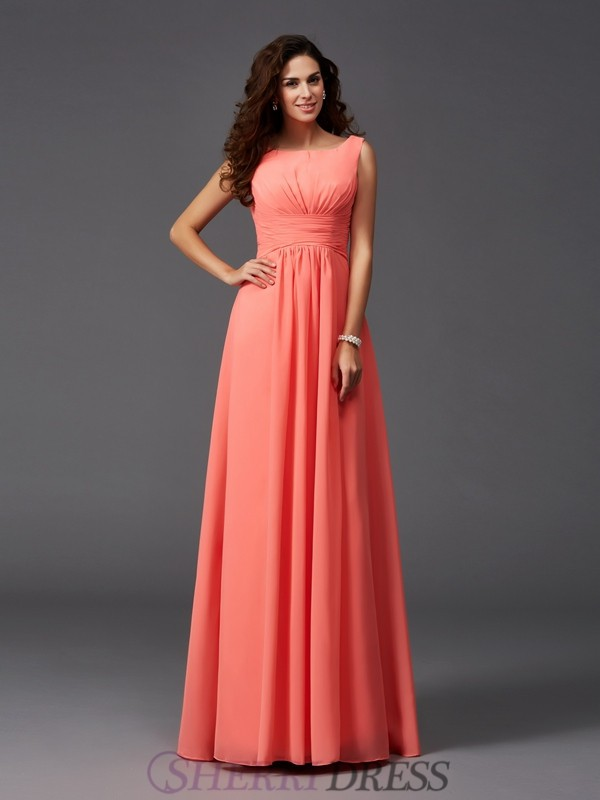 A-Line/Princess Scoop Chiffon Sleeveless Sweep/Brush Train Bridesmaid Dresses