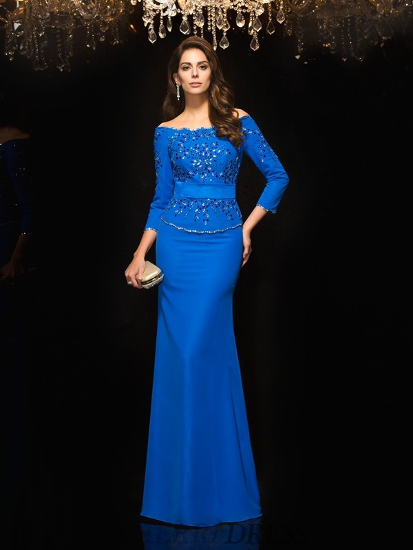 Sheath/Column Off-the-Shoulder Chiffon 3/4 Sleeves Floor-Length Evening Dresses