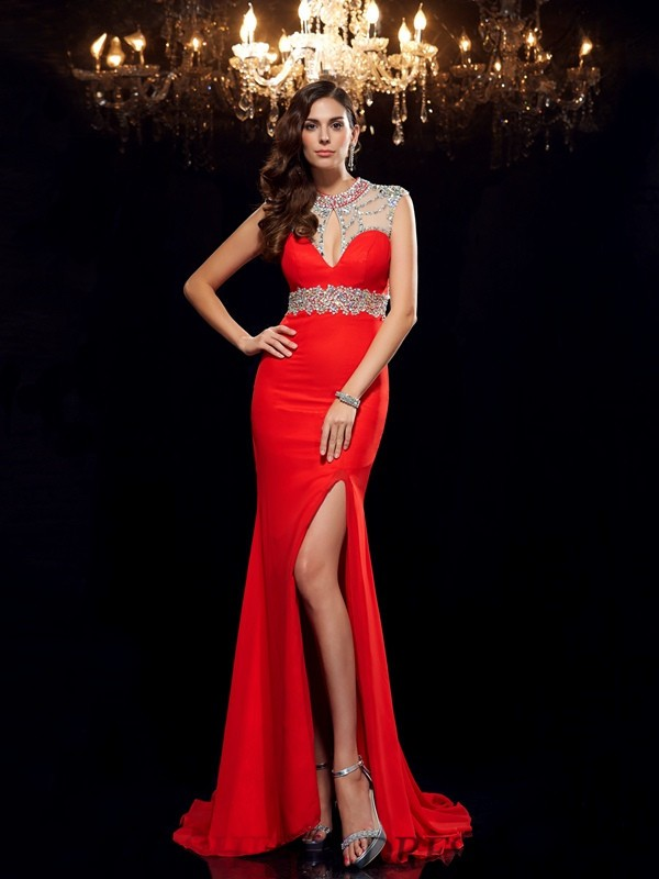 Trumpet/Mermaid Scoop Chiffon Sleeveless Sweep/Brush Train Evening Dresses