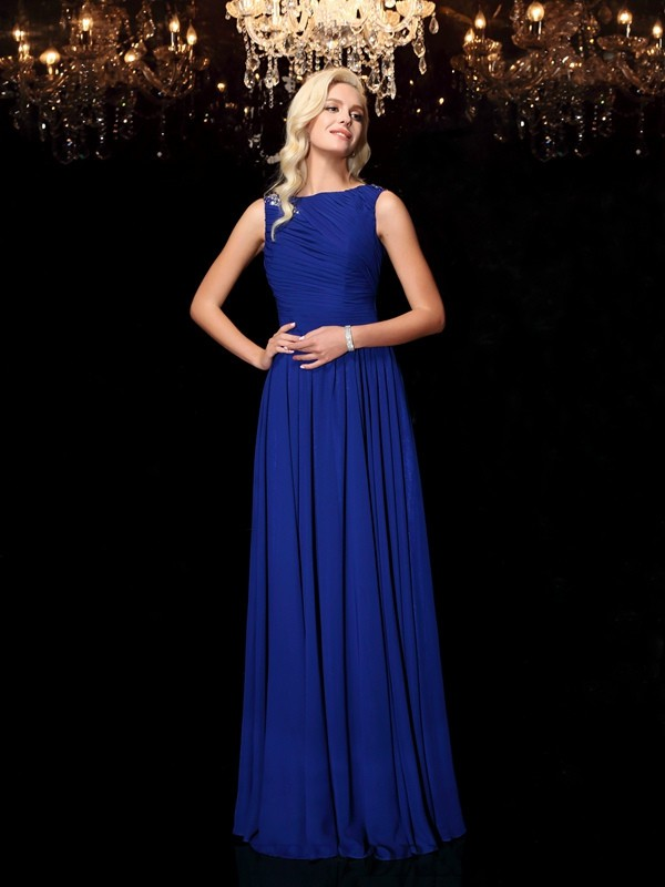 A-Line/Princess Bateau Chiffon Sleeveless Floor-Length Evening Dresses