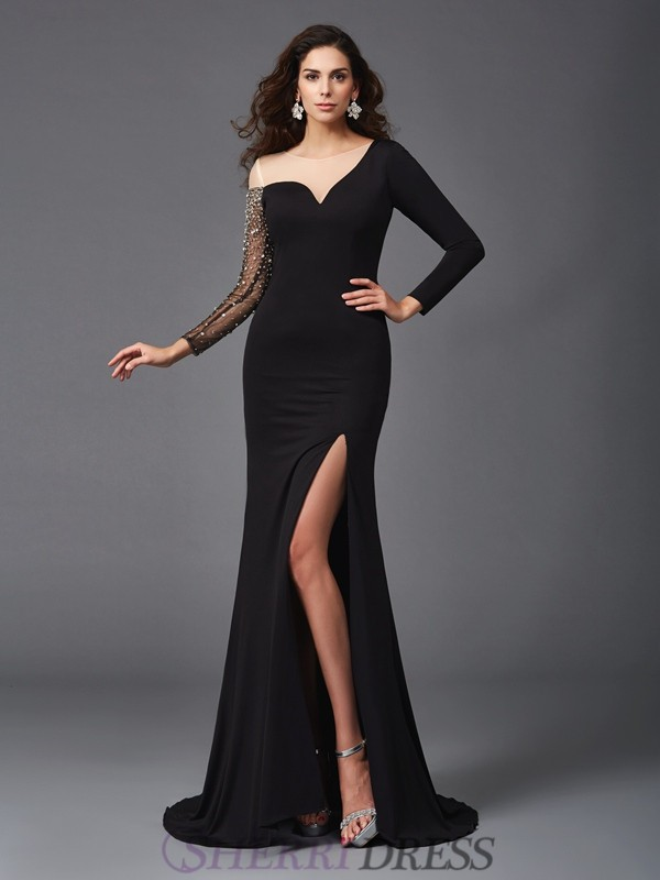 Sheath/Column Scoop Spandex 3/4 Sleeves Sweep/Brush Train Evening Dresses