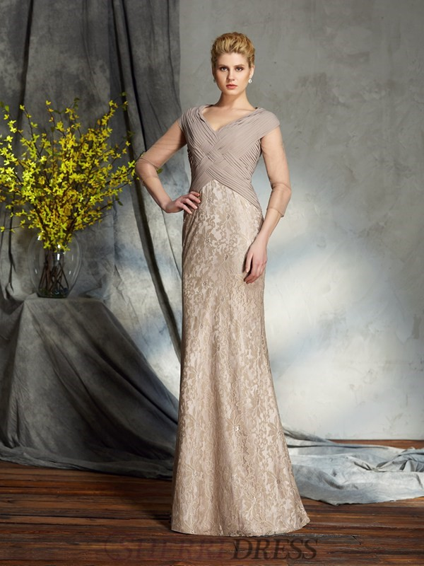 Sheath/Column V-neck Chiffon 3/4 Sleeves Floor-Length Mother of the Bride Dresses
