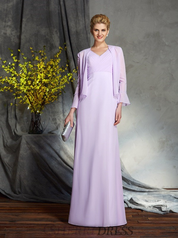 Sheath/Column V-neck Chiffon Sleeveless Floor-Length Mother of the Bride Dresses