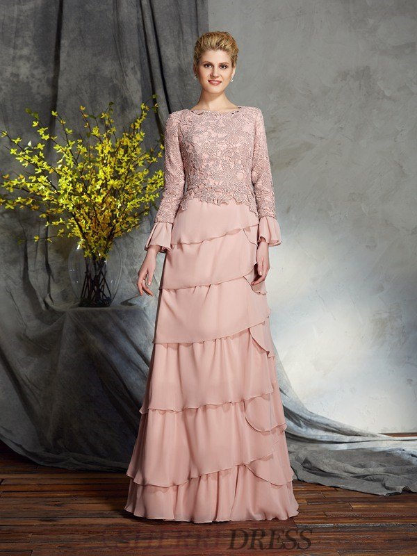 Sheath/Column Scoop Chiffon Long Sleeves Floor-Length Mother of the Bride Dresses