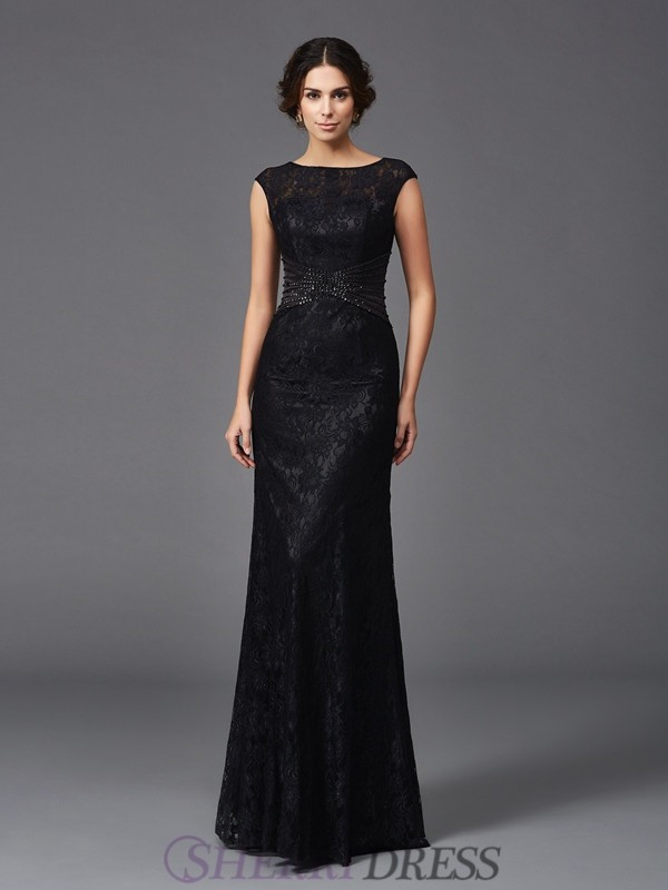 Sheath/Column Scoop Lace Sleeveless Floor-Length Mother of the Bride Dresses