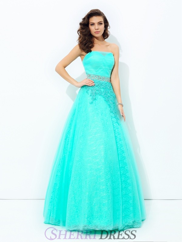 A-line/Princess Strapless Elastic Woven Satin Sleeveless Floor-Length Prom Dresses