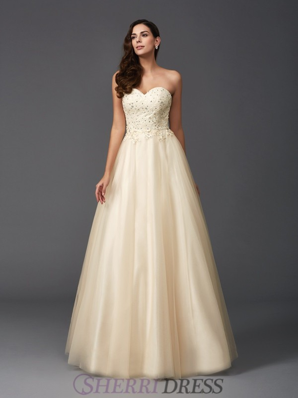 A-Line/Princess Sweetheart Net Sleeveless Floor-Length Prom Dresses