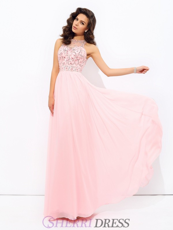 A-line/Princess Jewel Chiffon Sleeveless Floor-Length Prom Dresses