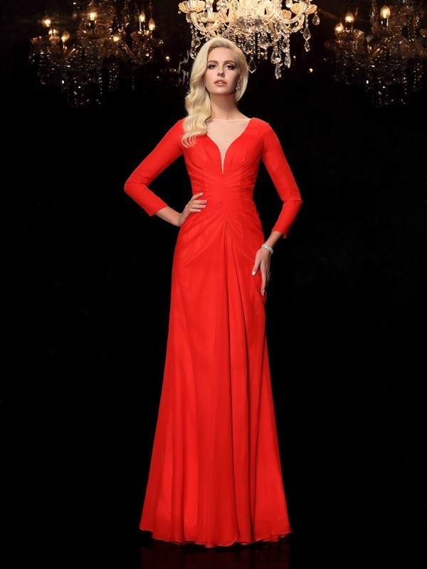 Sheath/Column Bateau Chiffon Long Sleeves Floor-Length Prom Dresses