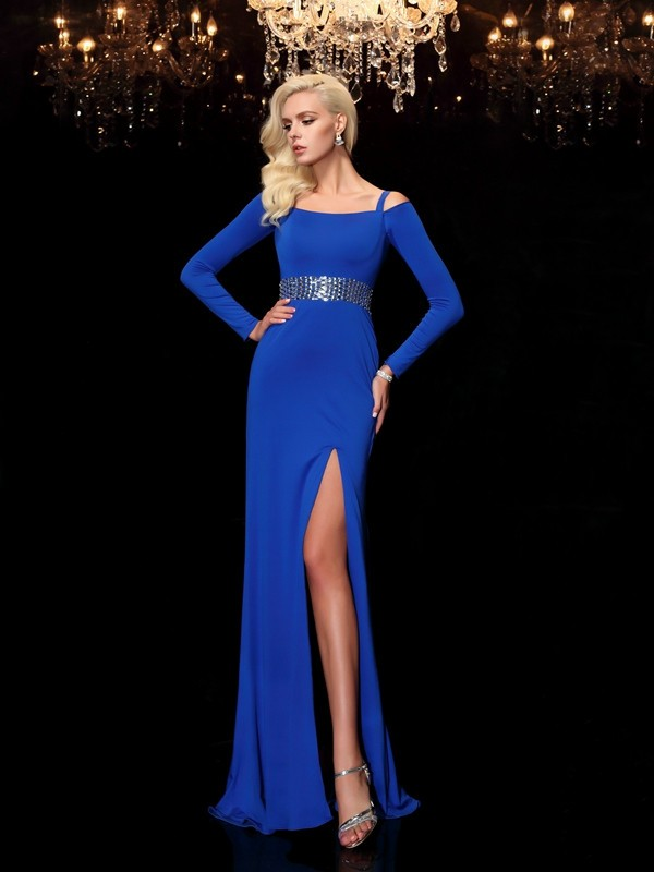 Sheath/Column Bateau Spandax Long Sleeves Sweep/Brush Train Prom Dresses