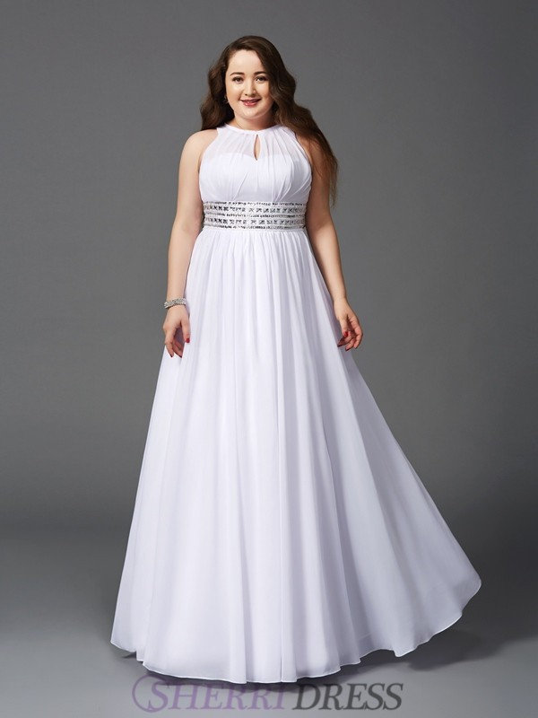 A-Line/Princess Jewel Chiffon Sleeveless Floor-Length Plus Size Prom Dresses