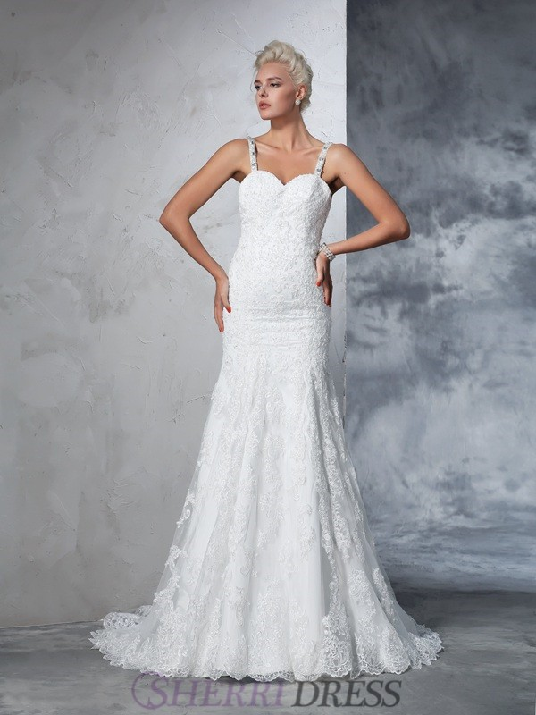 Trumpet/Mermaid Spaghetti Straps Lace Sleeveless Chapel Train Wedding Dresses