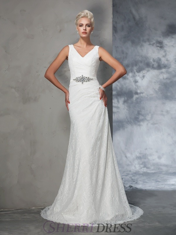 Trumpet/Mermaid V-neck Lace Sleeveless Court Train Wedding Dresses