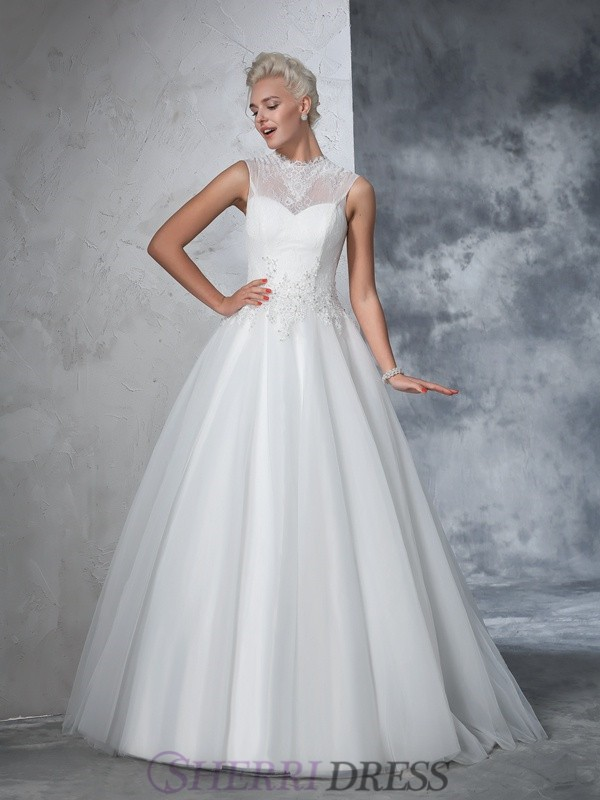 Ball Gown High Neck Net Sleeveless Floor-Length Wedding Dresses