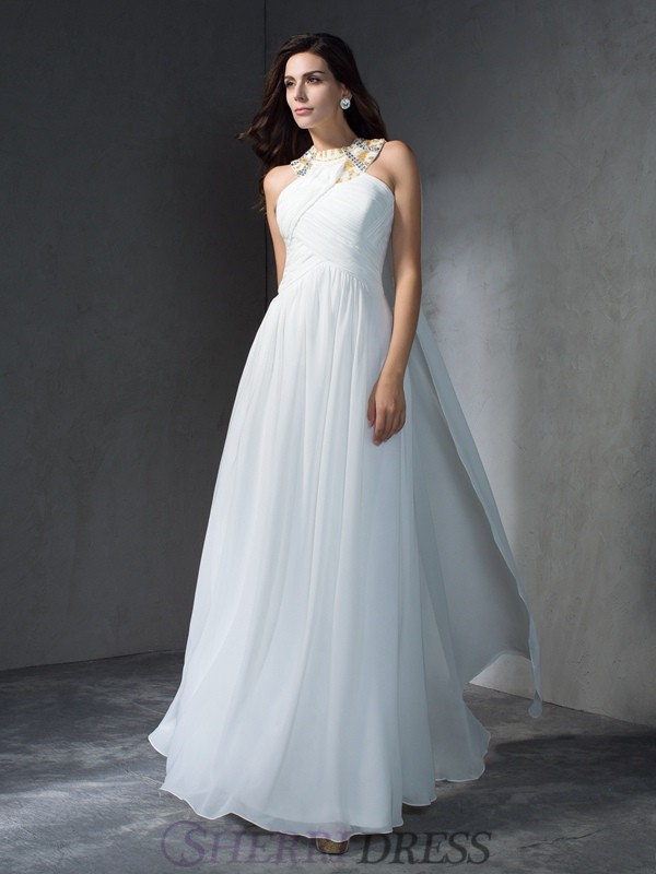 A-Line/Princess Jewel Chiffon Sleeveless Floor-Length Evening Dresses