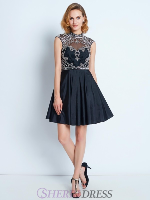 A-Line/Princess High Neck Satin Sleeveless Short/Mini Homecoming Dresses